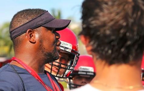 Coach Hill(1st yr) has a prep talk with his boys.