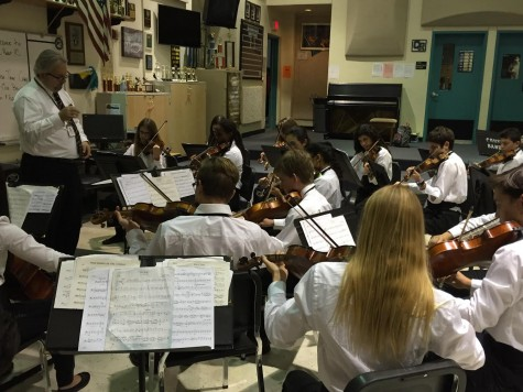 Orchestra Students practicing early in the morning