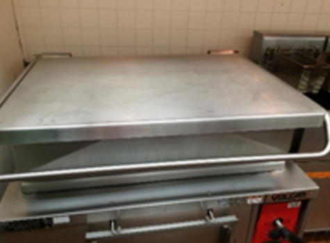 The tilt skillet is used to cook 20 pounds of pasta at a time for the 120 pounds needed for staff and students
