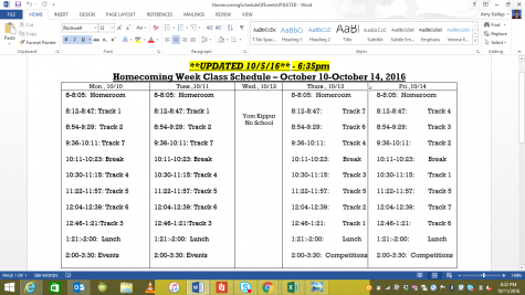 The updated updated Homecoming schedule!