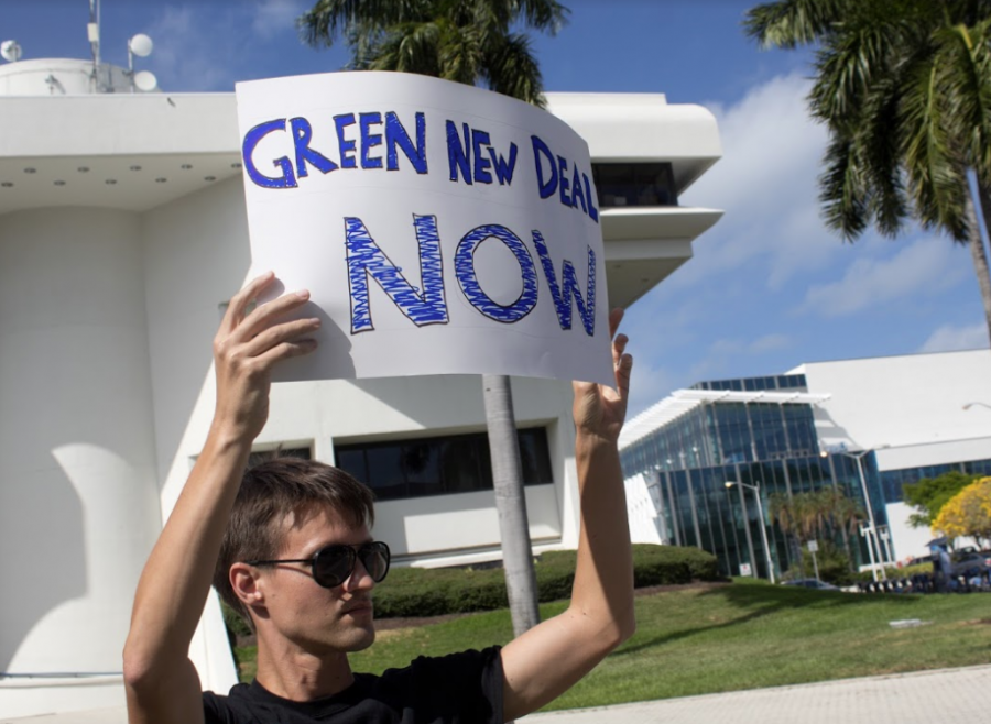 Green New Deal Now!! Protesting student in March in front of Miami Beach City Hall
