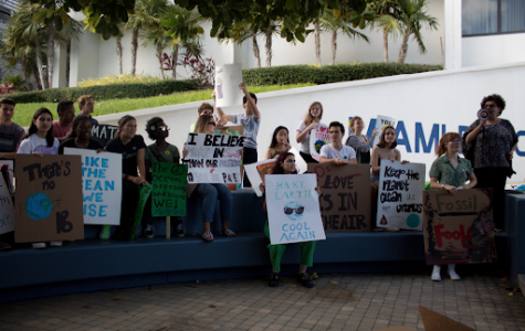 Student protestors striking for climate justice legislation in Miami Beach.