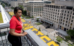 Washington D.C. Mayor Muriel Bowser overlooking the Black Lives Matter mural she commissioned on 16th Street.
