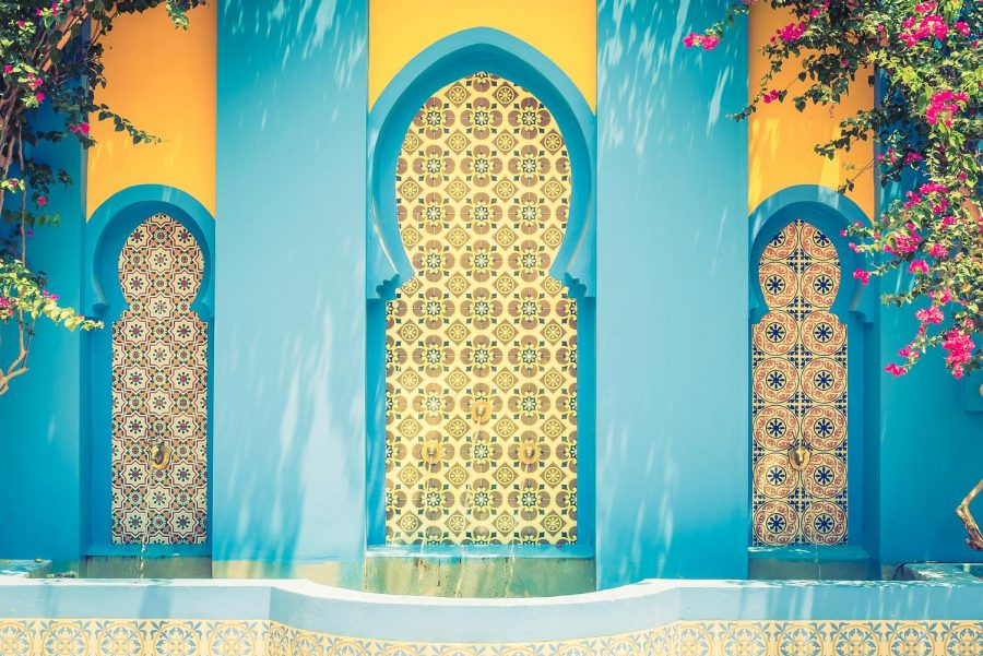 Beauty adorns the cities of Morocco as seen in this fountain in Marrakesh. Background photo created by mrsiraphol.