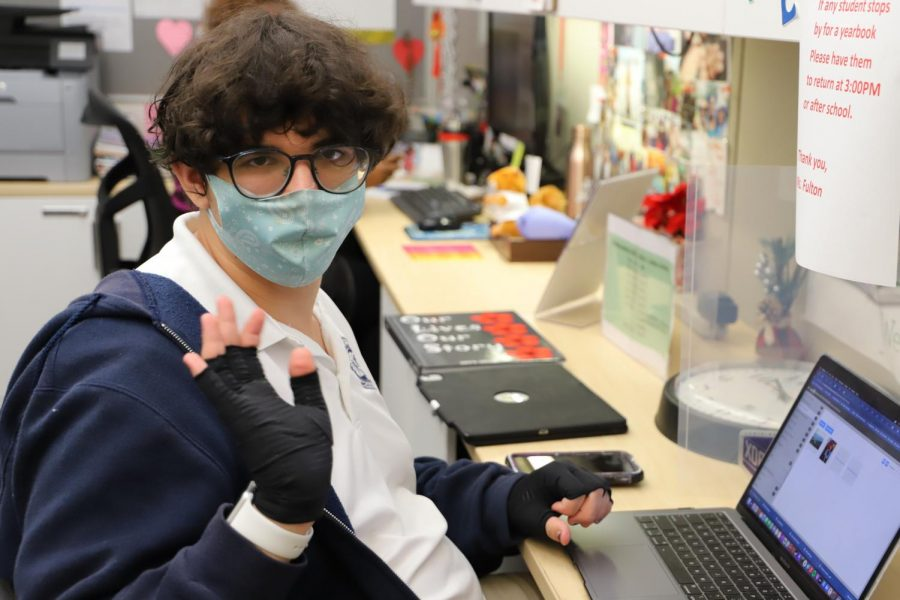 Jacob H hard at work as the Yearbook Editor in Chief for the 2nd year in a row.