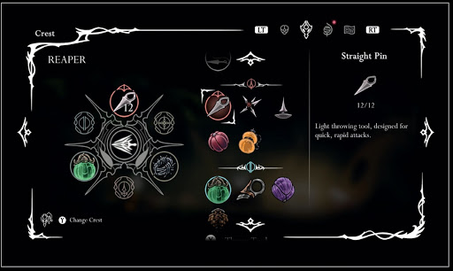 """""""Crests are customizable, themed loadouts, with each slot able to hold one particular category of tool."""" As seen above, the Reaper crest allows equipment of 6 tools."""